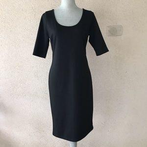 Black Bodycon Dress scoop neck Large